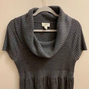 LOFT Soft Gray Cowl Sweater Dress Wool Blend NWT L